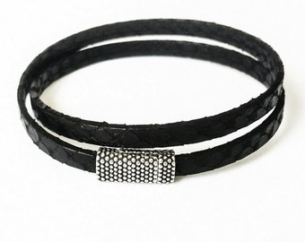 Leather Wrap Bracelet, Black Leather Wrap Bracelet, Black Wrap Bracelet, Leather Bracelet, Wrap Bracelet, Black Wrap, Black Leather Bracelet