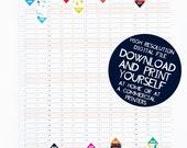Printable 2017 Wall Planner Calendar Digital PDF file