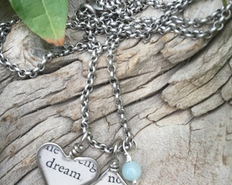nickel silver wire wrapped heart resin charm book page inspirational sayings necklace jewelry dream wild mixed media amazonite stone
