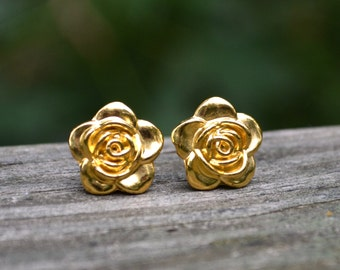 Large Gold Roses . Studs . Earrings . Gold . Rose Studs Collection
