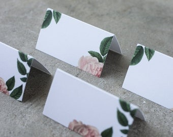 Peony place cards. Wedding botanical place cards. Set of 25