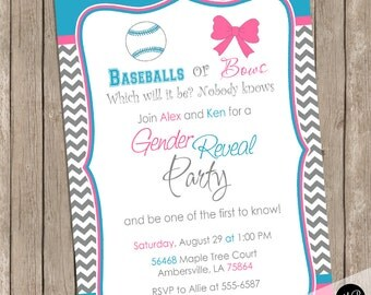 Baseball or Bows Gender Reveal Invitation, Baby Reveal Invite, Gender Reveal Shower Invitation, Baby Reveal, printable or printed invitation