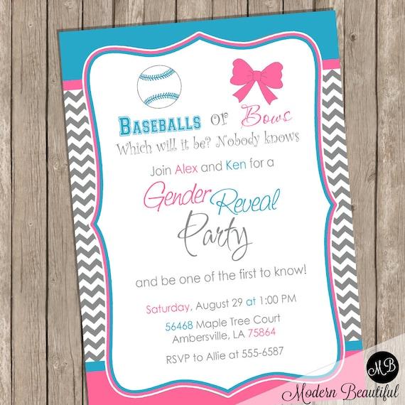 Baseball or Bows Gender Reveal Invitation Baby Reveal Invite