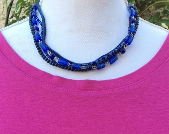 Necklace Dark Blue Leather and Beads four strands for peace: blue leather, blue glass beads, 17 - 19 inches