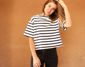 90s striped OXFORD soft SPRING t shirt top BLACK & white mock turtleneck top