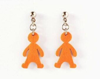 Valentine gifts, Wooden doll earrings, OOAK lightweigh earrings, long earrings, dangle earrings, wood doll, woman earrings, casual jewelry
