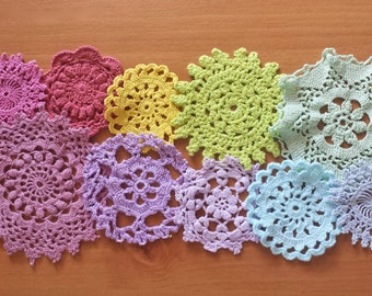 10 Rainbow Hand Dyed Crochet Doilies, Small Vintage Doilies