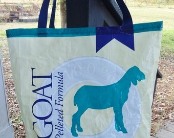 Large Upcycled Feed Bag Tote, Goat Lover's Market Bag, Charity Tote, Carry-All with Easy-Carry Nylon Web Handles, Machine Washable