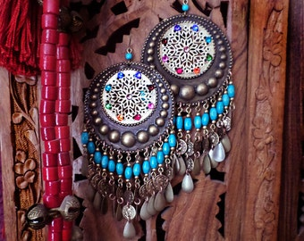 Lightweight! Huge Exotic Moroccan Earrings, Turquoise, Boho Bronze Gypsy Hoops, Coins, Wood, Swarovski Rainbow Chakra Mandala, Red