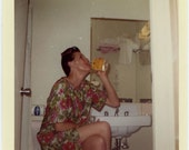 "Vintage Color Photo ""Carol's Nightly Ritual"" Woman Drinking Bathroom Snapshot Photo Old Photograph Found Paper Ephemera Vernacular - 113"