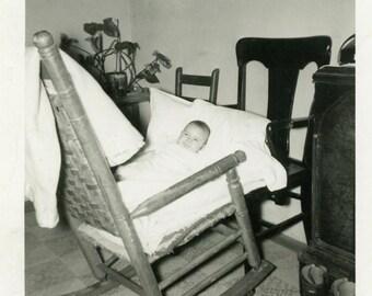 "Vintage Photo ""DIY Baby Bed"" Snapshot Old Antique Photo Black & White Photograph Found Paper Ephemera Vernacular - 66"