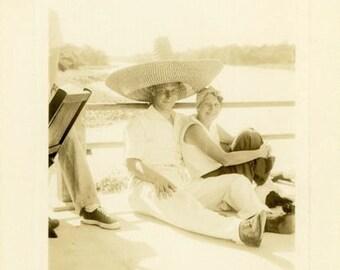 "Vintage Photo ""Wearing His Favorite Hat"" Couple Boat Snapshot Antique Photo Old Black & White Photograph Found Paper Ephemera Vernacular - 6"