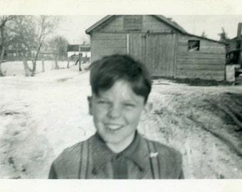 "Vintage Photo ""Close Up Bobby"" Face Snapshot Photo Old Antique Photo Black & White Photograph Found Photo Paper Ephemera Vernacular - 168"