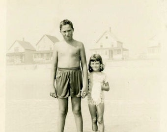 "Vintage Photo ""New England Summer"" Swimsuit Beach Snapshot Photo Old Antique Black & White Photograph Found Paper Ephemera Vernacular - 167"