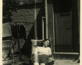 "Vintage Photo ""Sweet Dreams"" Woman Sleeping Snapshot Photo Old Antique Photo Black & White Photograph Found Paper Ephemera Vernacular - 128"