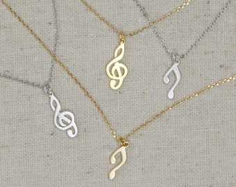 MOTHERS DAY GIFT Musical Necklace | Music Note | G Clef | Treble Clef | Melody | Harmony | Music Teacher | Singer | Musician | Minimalist