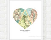 Map Heart Art, Unique Wedding Gift for Couple, Heart Map Print, Engagement, Newlywed Gift, Personalized Map Art