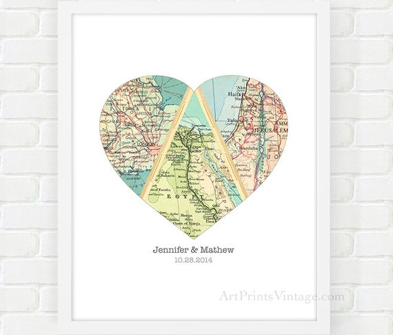Map Art Wedding Gift : Map Heart Art, Unique Wedding Gift for Couple, Heart Map Print ...