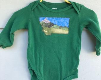 Big Sky Baby, Montana Love mountain baby onesie, green long sleeve,6 months, Glacier National Park, OOAK