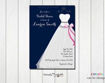 Bridal Shower Invite, Pink and Navy Blue Invitation, Wedding Shower, Wedding Dress