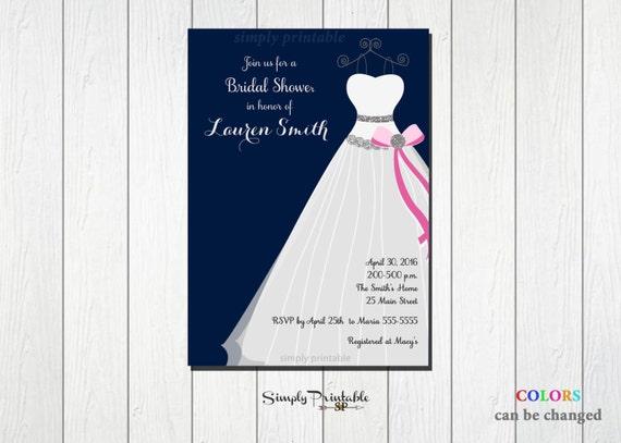 Bridal Shower Invite, Pink and Navy Blue Invitation, Wedding Shower, Wedding Dress