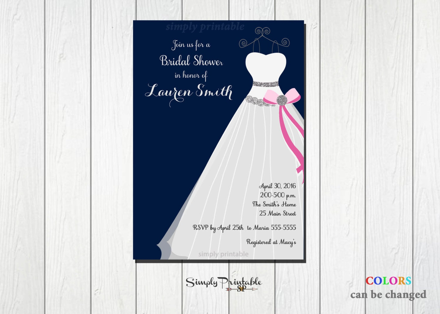 Pink And Navy Blue Wedding Invitations: Bridal Shower Invite Pink And Navy Blue Invitation Wedding