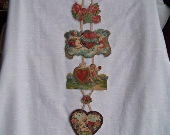 Vintage Victorian Valentine Hanging Ribbon Roses Angels