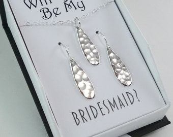 Bridesmaid Gift Jewelry Set Teardrop Necklace Teardrop Earrings Wedding Jewelry Dangle Earrings Sterling Silver Wedding Gifts Popsicledrum W