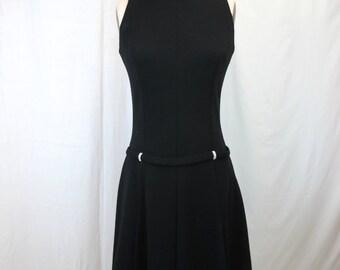 1960s Black 60s Knit Rhinestone Dress