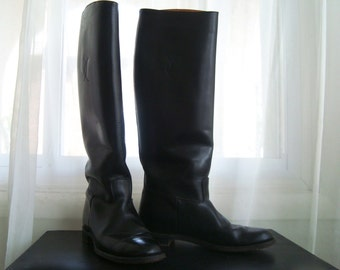 Black Leather Equestrian Boots, Riding Boots, Size 7 to 7 1/2