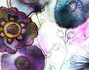Floral Art Print, Modern Wall Art, Purple Flower Painting, Alcohol Ink Art, Contemporary Wall Art, Whimsical Flowers Artwork,Teen Wall Decor