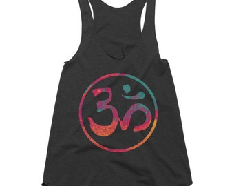 Om Tank, Om Top, Om Racerback Tank, Workout Tank, Yoga Top, Yoga Clothing, Womens Tank Top, Womens Tops, Womens Gift, American Apparel
