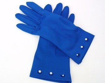 Vintage Ladies Gloves | Dress Gloves | Blue Nylon Gloves | Short Gloves with Buttons