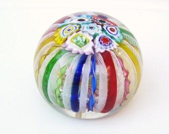 Vintage Glass Paper Weight, Millefiori Paperweight, Murano Glass, Zanfirico, Primary Rainbow Colors