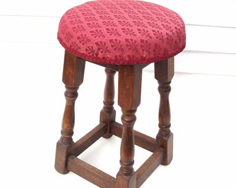 Vintage Wooden Stool Counter Stool Round Vanity Bench Maroon Upholstery Fabric