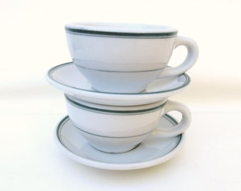 Vintage Ironstone Coffee Cups | Restaurant Ware | Coffee Cups and Saucers | Cup Sets | Green Stripe Restaurant Cups  - 2 Sets