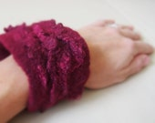 Ruby Love - Hand felted bracelet from soft wool and silk - Perfect gift