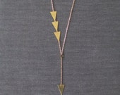 Veleta - Brass Triangle Asymmetric Y Necklace; Long Necklace with Brass Triangles Collier