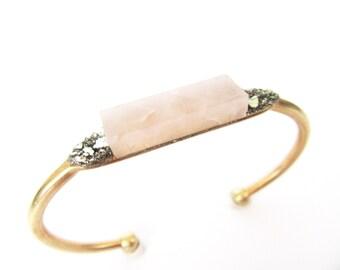 Bridal Jewelry// Rose Quartz Cuff Bracelet// Bridesmaid Gift //Raw Crystal Bracelet