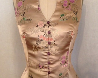Asian Brocade Vest, Rose Gold and Amethyst, size Medium