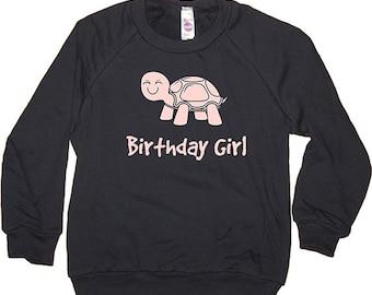 Birthday Shirt - Kids Cute Turtle Birthday Girl Long Sleeved Navy Blue & Pink - Birthday - Fleece - 2T, 4T, 6, 8, 10, 12