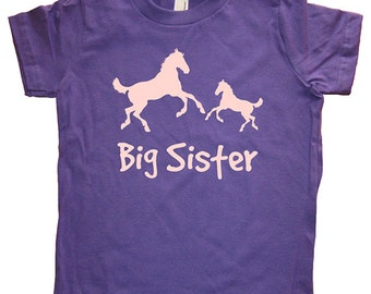 Big Sister Shirt - 8 Colors Available - Kids Horse Horses Pony Ponies Big Sister T shirt Sizes 2T, 4T, 6, 8, 10, 12 - Big Sister Gift Idea