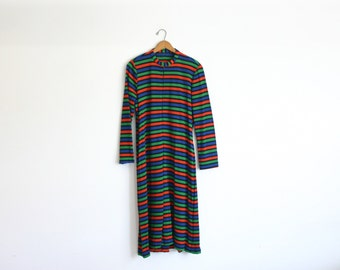 1960s / 1970s  A-line long sleeve striped tunic dress size Lrg