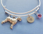 Dog Bracelet, Airedale Terrier, Initial Bangle,Silver Bangle,Personalized,Expandable,Charm Bracelet,Birthstone Bracelet,BFF Friend,Birthday