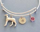 Greyhound Bracelet, Dog Bangle, Initial Bangle,Silver Bangle,Personalized,Expandable,Charm Bracelet,Birthstone Bracelet,BFF Friend,Birthday