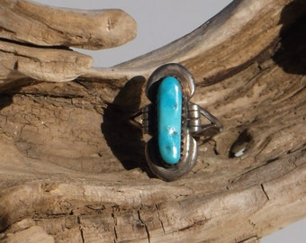 Navajo Sterling Silver Ring with Sky Blue Turquoise size 7 1/4