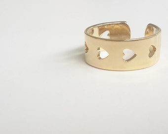 Adjustable ring - Gold Hearts Ring - Heart Jewelry - Love Jewelry - Friendship ring - Gold ring - Romantic Jewelry - Valentine's Gift