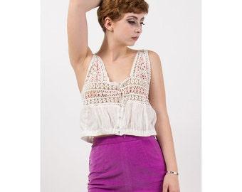 Edwardian camisole / Vintage cotton crochet corset cover / Crop top S M