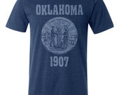 Oklahoma State Seal  T-Shirt. Vintage Style Soft Retro Great Plains Shirt Unisex Men's Slim Fit and Women's Tee