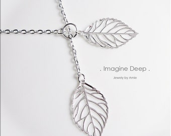 50%off SPECIAL Silver Leaf Necklace Leaf Lariat Y Necklace Silver Leaf Lariat Necklace Silver Plated Leaves